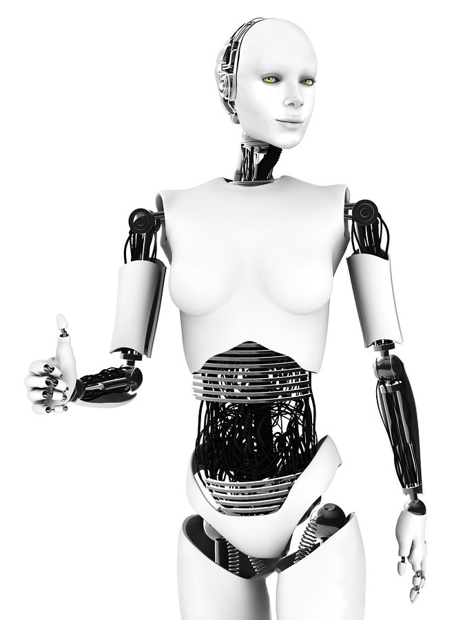 bigstock Robot Woman Doing A Thumbs Up  87427856