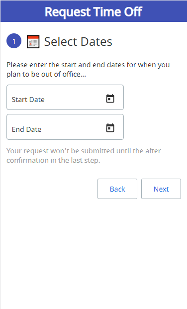 UiPath Apps time off request automation