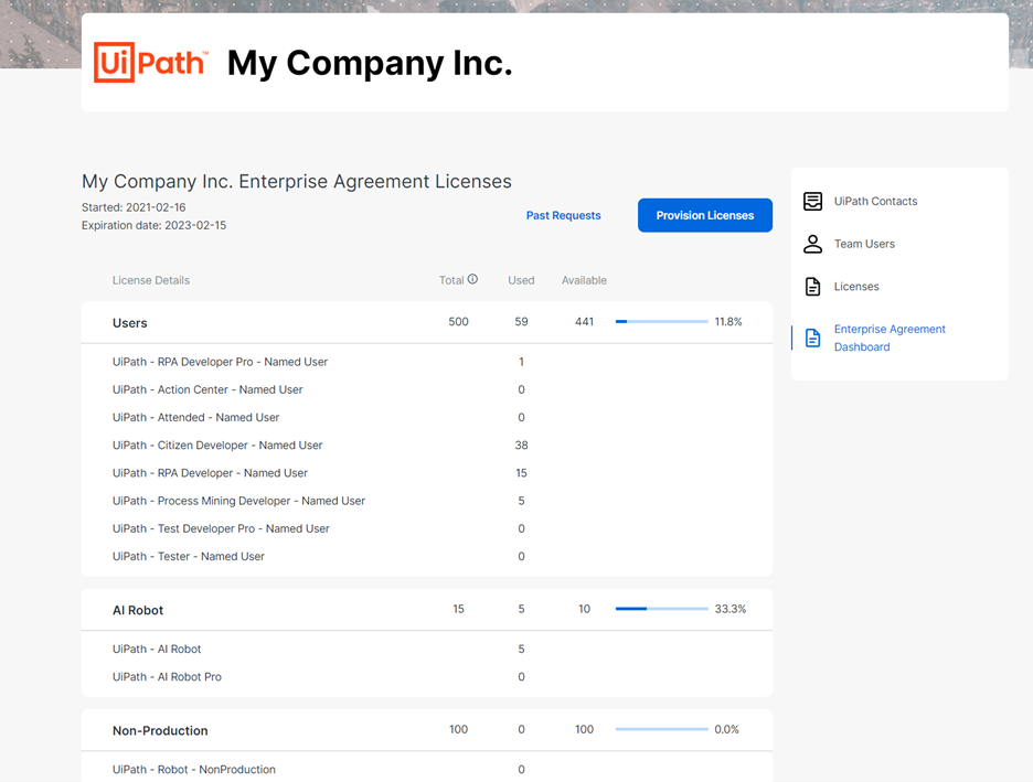 uipath june 2021 customer portal licenses page example