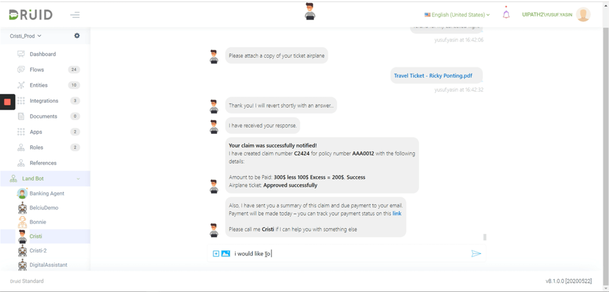 druid chatbot uipath integration