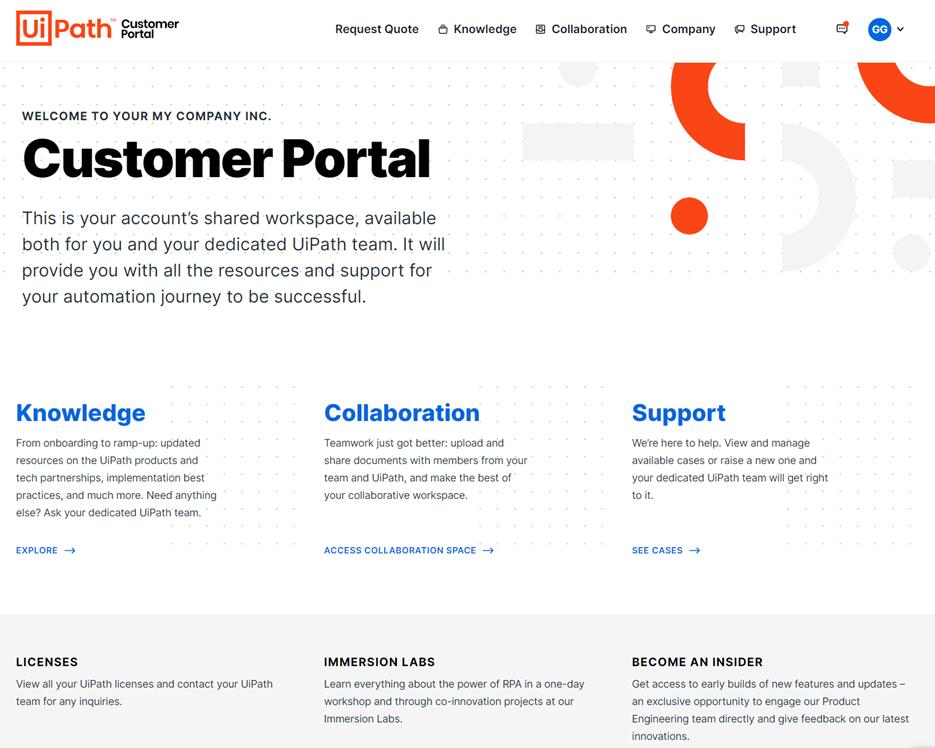 uipath june 2021 release customer portal welcome screen