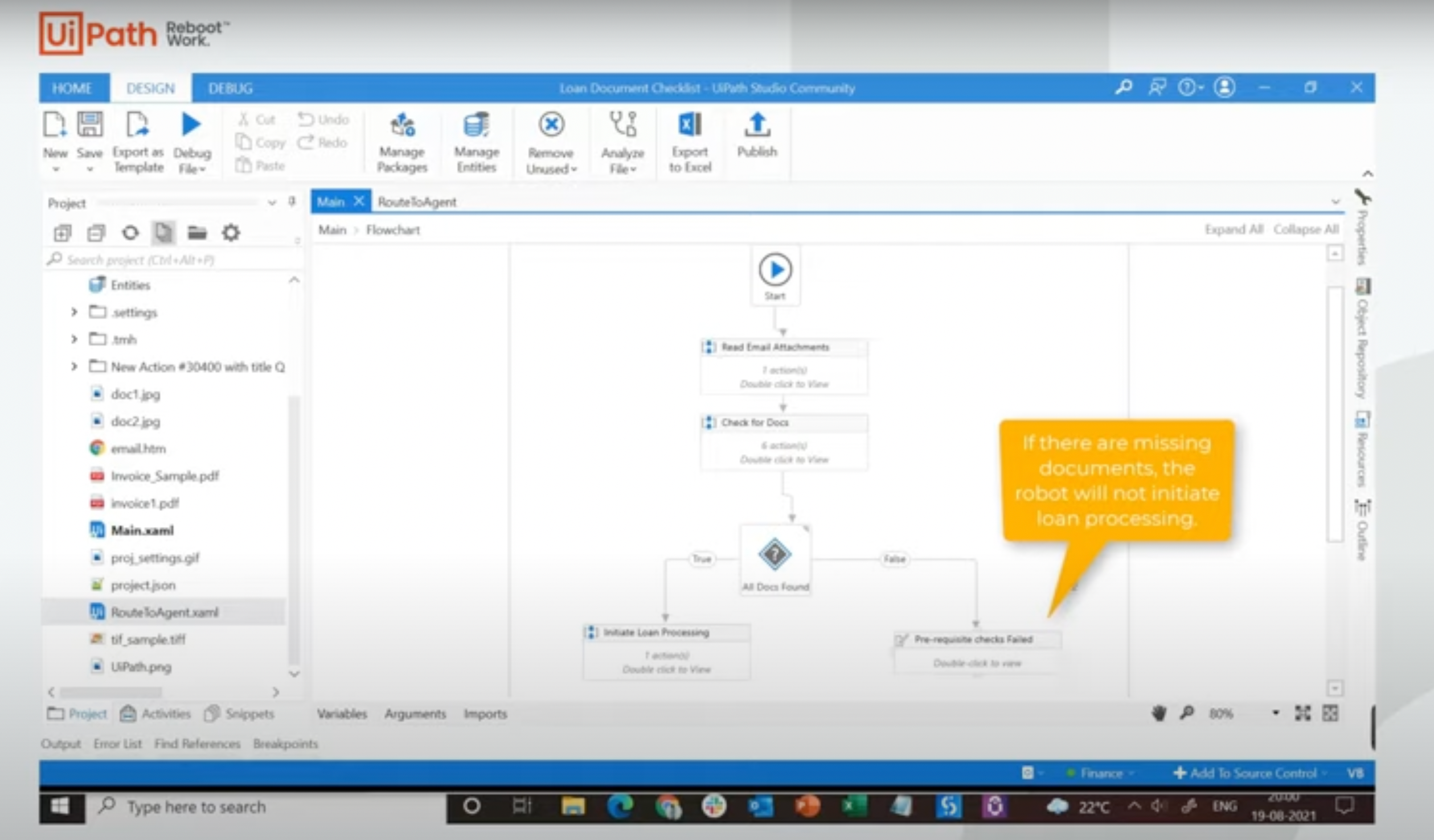 uipath action center demo loan processing workflow