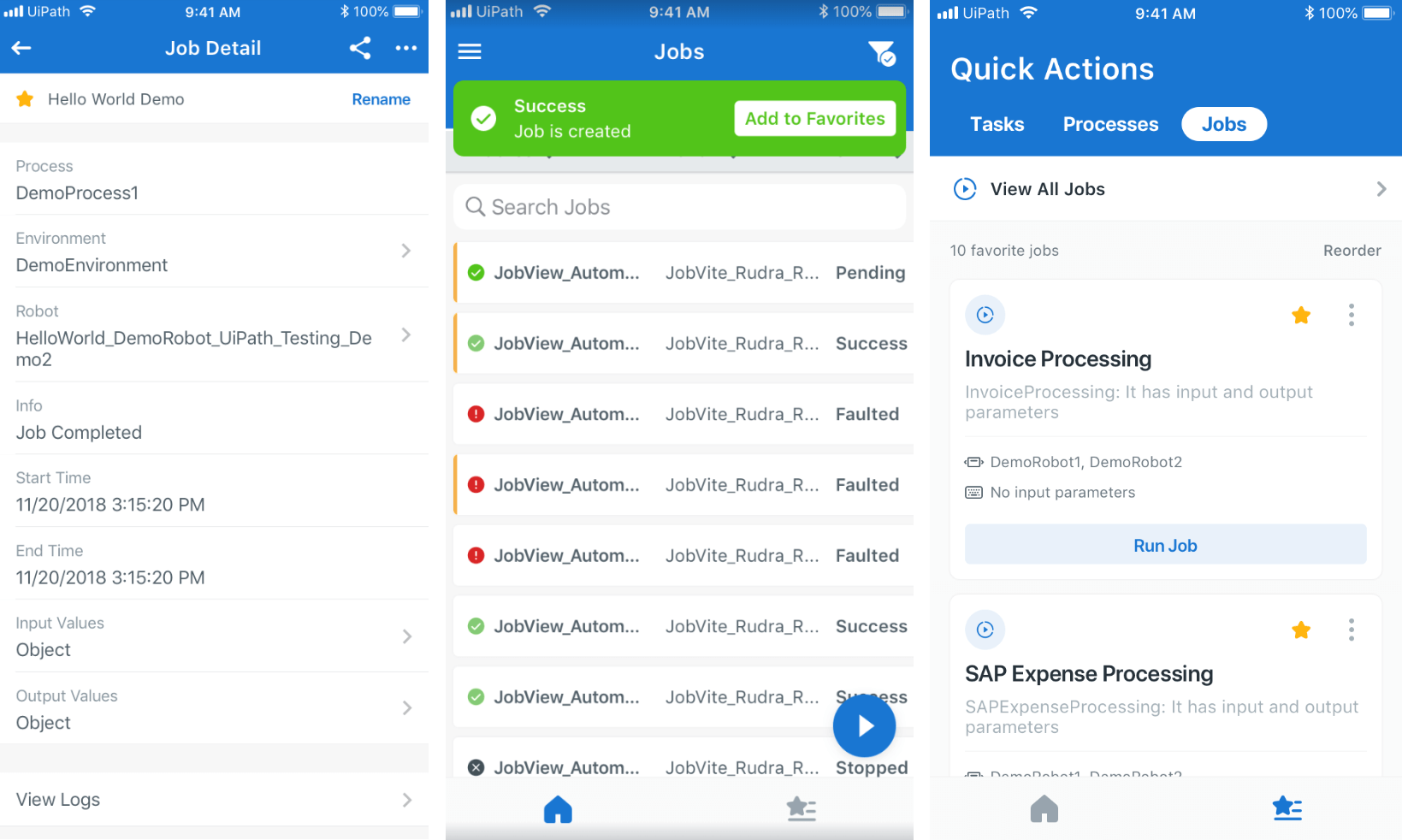 uipath orchestrator mobile app favorite jobs
