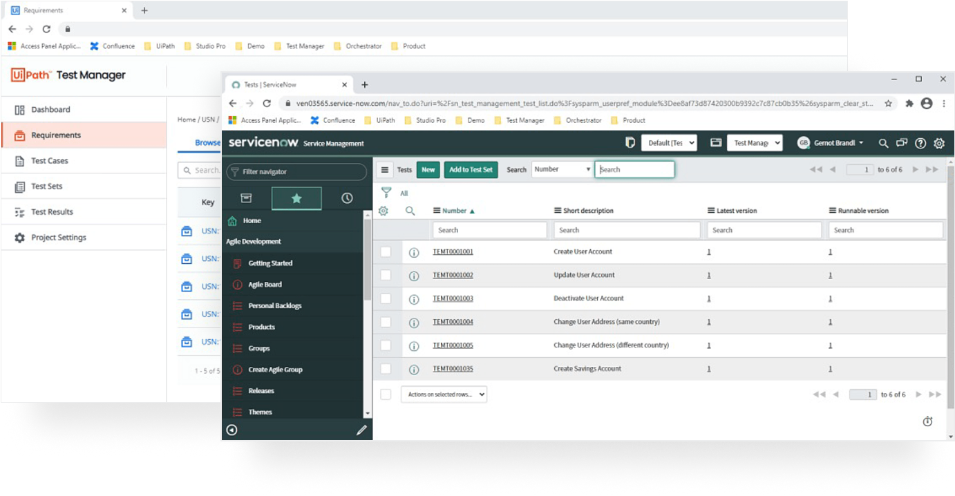 Create and manage UiPath automated tests from ServiceNow