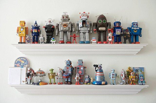 shelves of robots