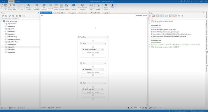 Automate tests in UiPath Studio Pro